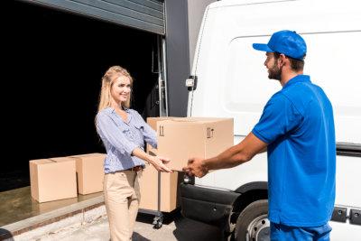 Woman receiving her package